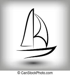 båt, logo, yacht, templates., segel, silhouettes.