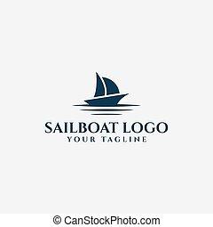 båt, nautisk, segling yacht, våg, logo, design, segel, hav