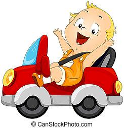 baby, bil, drivande