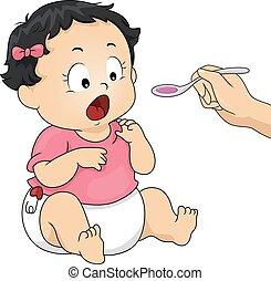 baby medicin, flicka, saft, unge