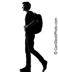 backpacker, vandrande, silhuett, ung man