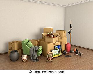 bagage, rum, illustration, mitt, rutor, tom, 3
