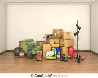 bagage, rum, illustration, rutor, tom, 3