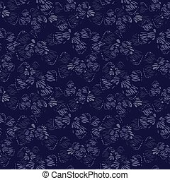 bakgrund, fjäril, seamless, botanisk, mönster