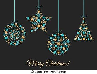 bakgrund, jul, decoration., träd, jul