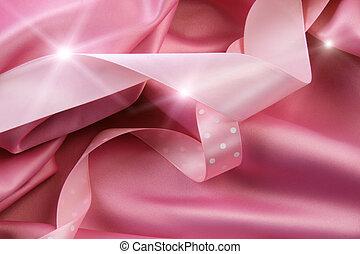 bakgrund, rosa, remsor, satäng, silke