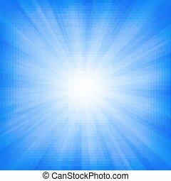bakgrund, sunburst, blå