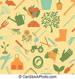 bakgrund., trädgårdsarbete, seamless, mönster