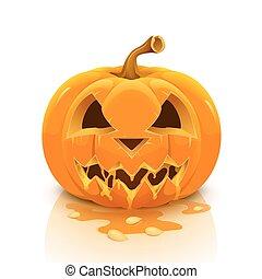 bakgrund., vit, halloween, isolerat, pumpa