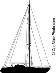 bakgrund., yacht, isolerat, vit