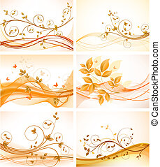 bakgrunder, sätta, blommig, abstrakt