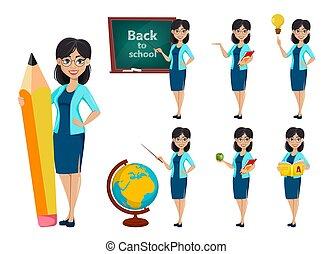 baksida, school., lärare, tecknad film, kvinna, tecken