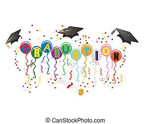 ballons, gradindelning, illustration, firande