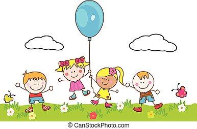 balloon, lurar, parkera, leka, lycklig