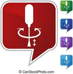 balloon, sätta, anförande, skruvmejsel ikon