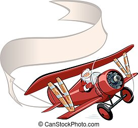 baner, jul, tecknad film, retro, airplane