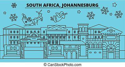 baner, lycklig, skissera, vector., jul, jul, dekorerat, nytt år, afrika, skyline., johannesburg, stad, syd, claus., munter, vinter, illustration, jultomten, linjär, lov