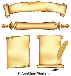 baner, rulla, papper