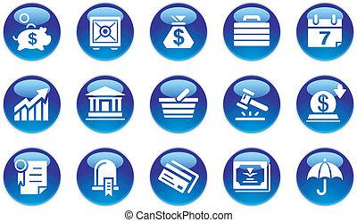 bankrörelse, sätta, &, affärsverksamhet ikon