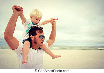 barn, fader, strand, lycklig