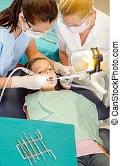 barn, tålmodig, assistent, tandläkare