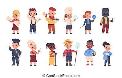 barn, tröttsam, costumes., kostymen, söt, tecknad film, personal, tecken, arbetare, sätta, professions., pojkar, vuxna, litet, olik, ockupation, vektor, uniforms., flickor, lycklig, lurar, leka