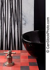 bathro, colors., badrum, färgrik, formar, tegelpanna, decor.