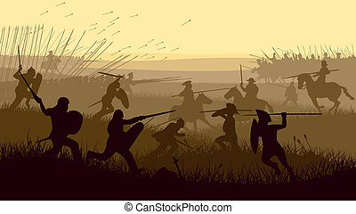 battle., medeltida, illustration