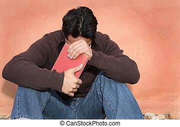 be, medan, bibel, man, holdingen