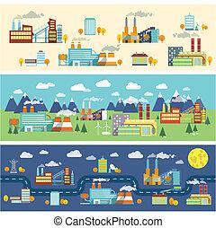 bebyggelse, industri, horisontella banér