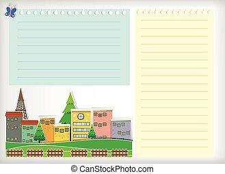bebyggelse, papper, design