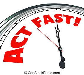 begränsad, erbjudande, nödvändig, akt, tid, handling, nu, klocka, urgency