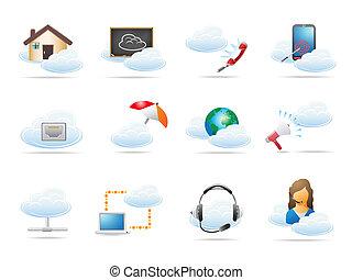 begrepp, beräkning, moln, ikon