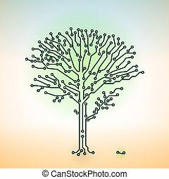 begrepp, elektronisk, färg, -, träd, vektor, bord, strömkrets, digital teknik
