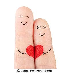 begrepp, hjärta, familj, målad, -, fingrar, isolerat, kvinna, bakgrund, vit, hålla, röd, man