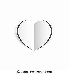 begrepp, hjärta, vit, papper, valentinkort