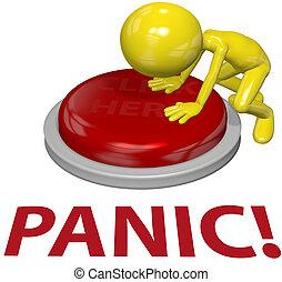 begrepp, knapp, person, trycka, problem, panik