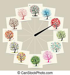 begrepp, konst, months, träd, uren, 12, design