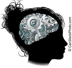 begrepp, kuggar, maskin, hjärna, kvinna, utrustar, arbetsgång