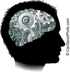 begrepp, kuggar, maskin, hjärna, utrustar, arbetsgång, man