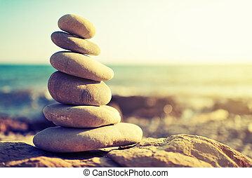 begrepp, kust, rockar, harmony., hav, balans