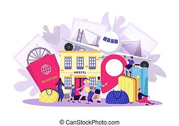 begrepp, kvinna, semester, tecknad film, illustration., resa, man, turist, folk, resa, vektor, lägenhet, turism, tecken, tour., sommar, resa
