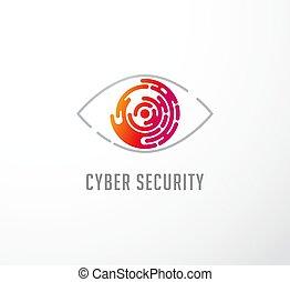 begrepp, logo, teknologi, ögon, ikon