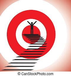 begrepp, mål, framgång, &, nå, challenge., illustration, vinnande, person, grafisk, detemined, tillitsfull, visar, uppnå, måltavla