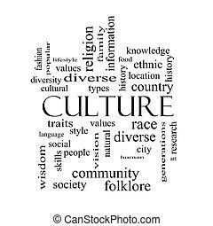 begrepp, ord, kultur, svart, vita sky