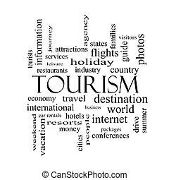 begrepp, ord, svart, vit, turism, moln