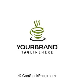 begrepp, te, grön, vektor, design, mall, logo