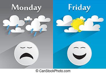 begreppsmässig, känsla, måndag, fredag