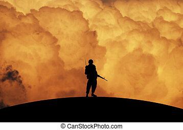 begreppsmässig, krig, illustration