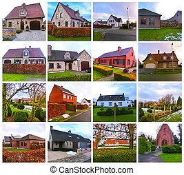 belgisk, typisk, förtjusande, stil, house., hus, land